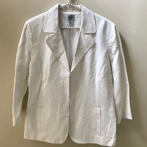 Chico's Size 2 Silk-Linen Off-White Career Blazer